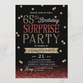 65th Glitter Confetti Surprise Party Invitation