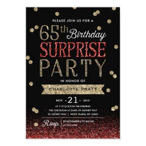 65th Glitter Confetti Surprise Party Invitation