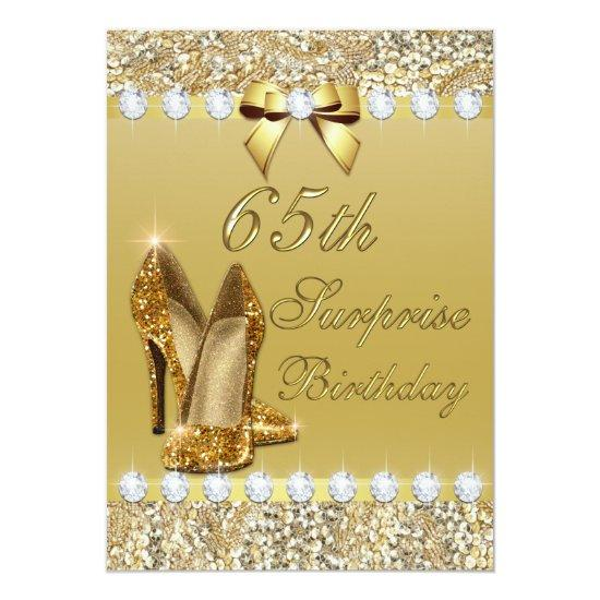 65th Surprise Birthday Gold Heels Sequins Diamonds Invitations