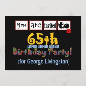 65th SURPRISE Birthday Party Invitation Blue