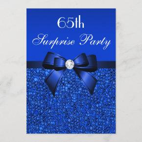 65th Surprise Party Royal Blue Sequins and Bow Invitation