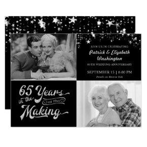65th Wedding Anniversary Then & Now Photos Stars Invitation