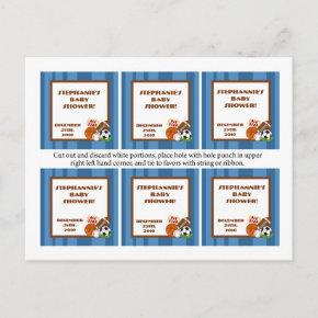 6 Favor Tags All-Star Blue Invitation Post