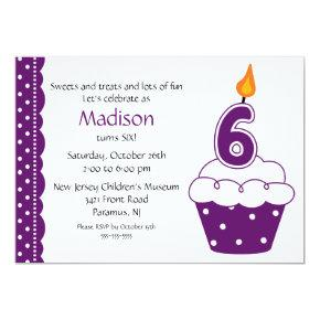 6th Birthday Cupcake Invitation