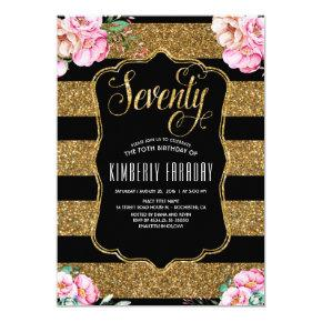 70 Birthday Party - Floral Gold Glam Invitations