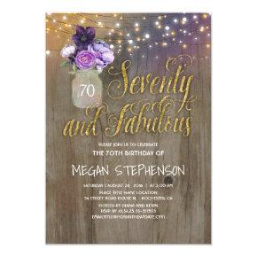 70 Rustic Birthday - Purple Flowers Mason Jar Gold Invitation