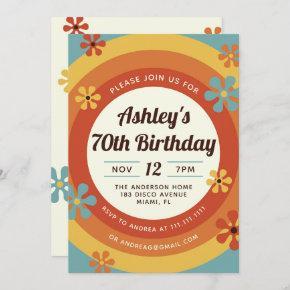 70's Disco Hippie Birthday Invitation