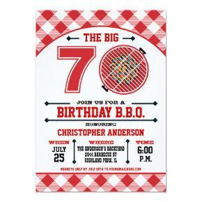 70th Birthday Barbecue Invitations