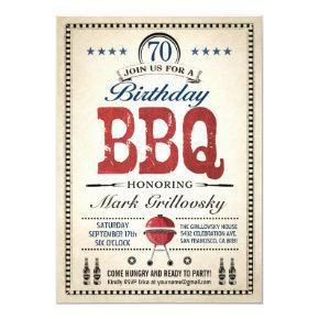 70th Birthday BBQ Invitations