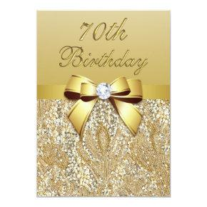 70th Birthday Gold Faux Sequins and Bow Invitation