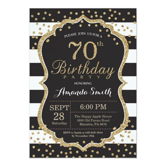 70th Birthday Invitation. Black and Gold Glitter