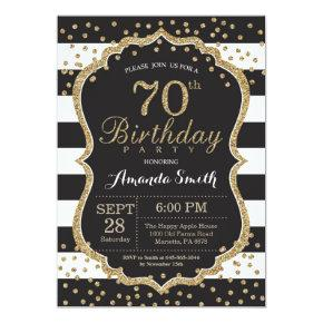 70th Birthday Invitations. Black and Gold Glitter Invitations
