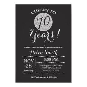 70th Birthday Invitations Black and Silver Glitter