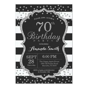 70th Birthday Invitation. Black and Silver Glitter Invitation