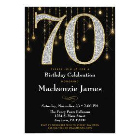 70th Birthday Invitation Black Gold Diamonds Adult