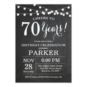 70th Birthday Invitation Chalkboard