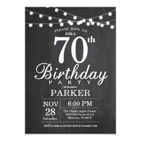 70th Birthday Invitation Chalkboard String Lights