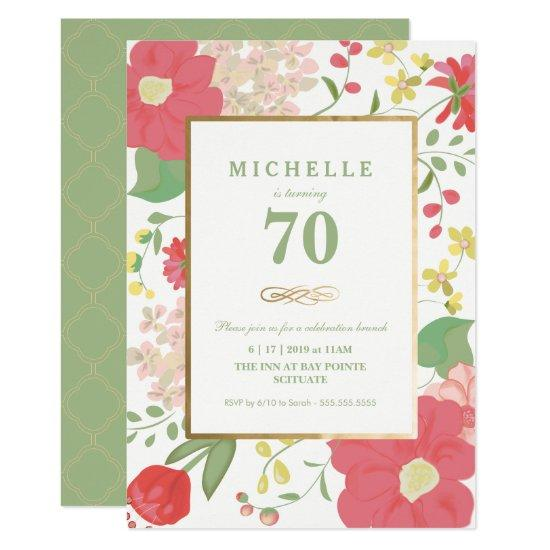 70th Birthday Invitations Gold Elegant Floral Candied Clouds