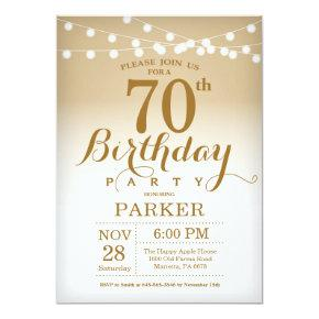 70th Birthday Invitation Gold String Lights