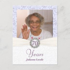 70th Birthday Invitation - Lavender Damask Sample