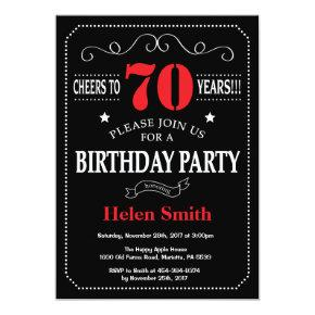 70th Birthday Invitations Red and Black Chalkboard