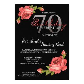 70th Birthday Invitation Rose