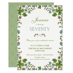 70th Birthday Invitation, Seventieth Vintage Style Card