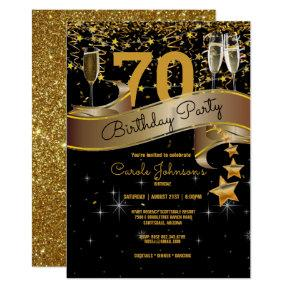 70th Birthday Party Champagne Glasses Streamers Invitation