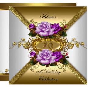 70th Birthday Party Elegant Roses Purple Gold Card