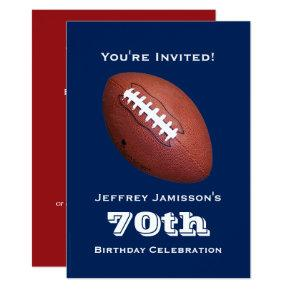 70th Birthday Party, Football Sports Red Blue Invitation