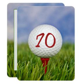 70th Birthday Party Golf theme Invitations