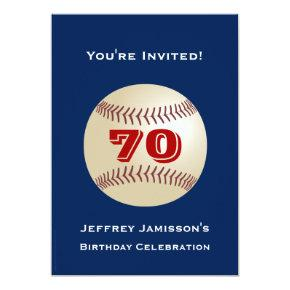 70th Birthday Party Invitations Baseball