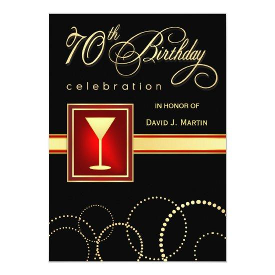 70th Birthday Party Elegant Black Red