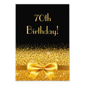 70th birthday party on black with gold bow sparkle Invitations