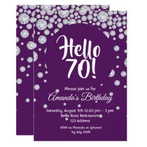 70th Birthday Party Purple White Diamonds Hello 70 Invitation