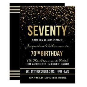 70th Birthday Party | Shimmering Gold Confetti Invitation