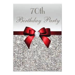 70th Birthday Party Silver Sequins Red Bow Invitations