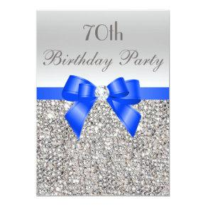 70th Birthday Silver Sequin Royal Blue Bow Diamond Card