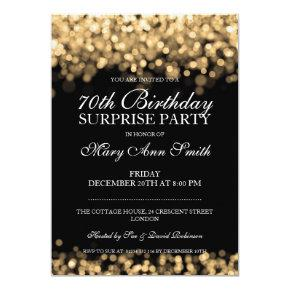 70th Surprise Birthday Party Gold Lights Card