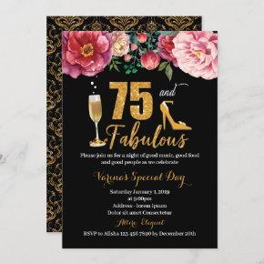 75 and Fabulous Birthday Invitation for Women