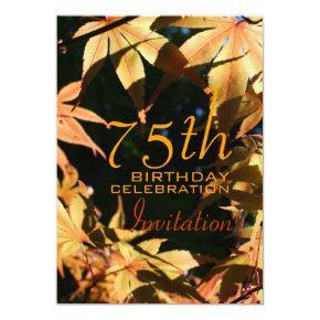 75th Birthday Celebration Autumn Custom Invitations