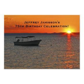 75th Birthday Celebration Invitation, Fishing Boat Card