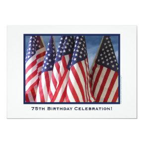 75th Birthday Celebration Invitation, Flags Card
