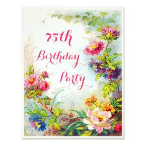 75th Birthday Dahlias and Peonies Victorian Garden Card