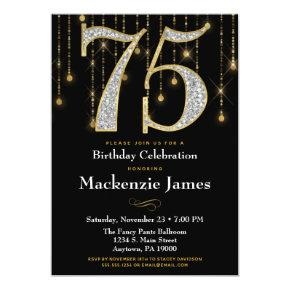 75th Birthday Invitation Black Gold Diamonds Adult