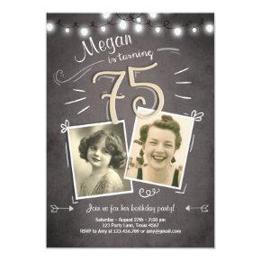 75th Birthday Invitation Vintage Adult Birthday