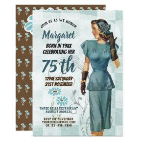 75th Birthday Invites Vintage Retro Elegant Woman