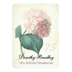75th Birthday Party Botanical Hydrangea Invitations