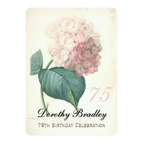 75th birthday party botanical hydrangea invitations candied clouds