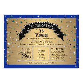 75th Birthday Party Celebrate Faux Jewel Confetti Card